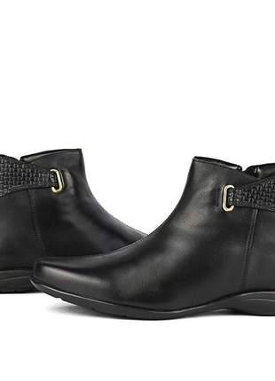 Bota em couro confortável sapatofran solado baixo