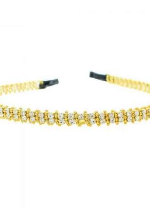 Tiara de strass dourado