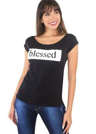 "Blusa t-shirt feminina estampada ""blessed"""