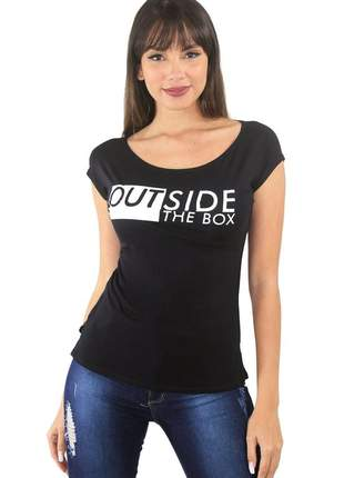 "Blusa t-shirt feminina estampada ""outside the box"""