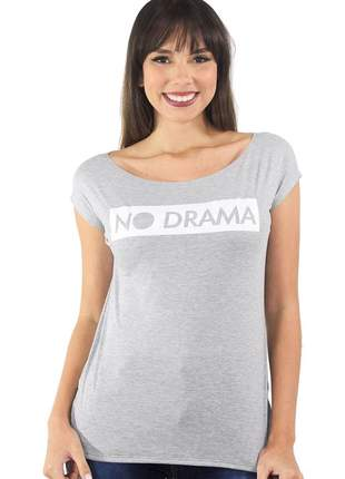 "Blusa t-shirt feminina estampada ""no drama"""