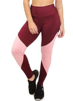 Calça legging marsala com detalhe rosê