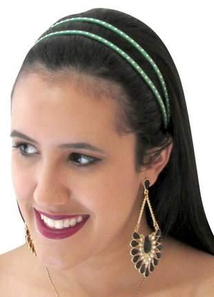 Headband duplo verde com tachinhas dourada