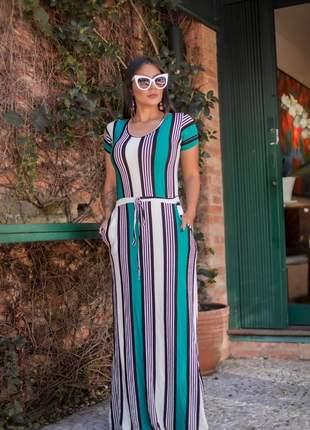 Vestido longo de manguinha com  bolso e faixa moda evangélica