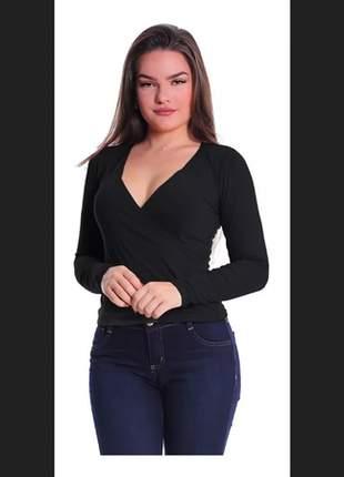 Kit com 3 blusa transpassada manga longa camisa decote feminina malha