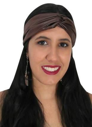 Turbante feminino acetinado marrom