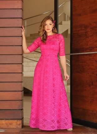 Sob encomenda- leia a descrição- vestido longo pink