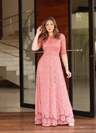 Vestido longo rosé rendado