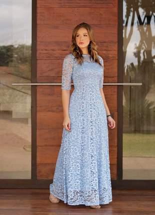 Sob encomenda- leia a descrição - vestido longo azul serenity