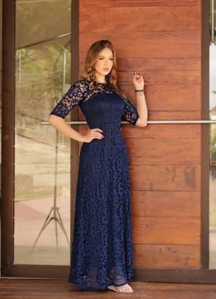 Sob encomenda - leia a descrição - vestido longo azul marinho