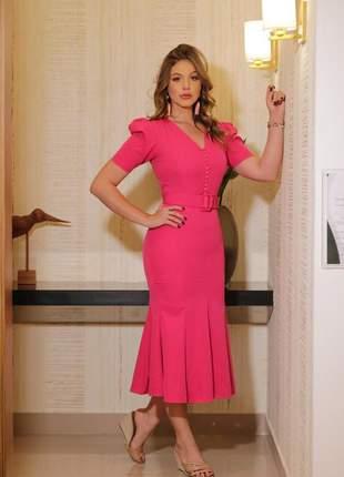 Vestido midi pink - coleção primavera verão