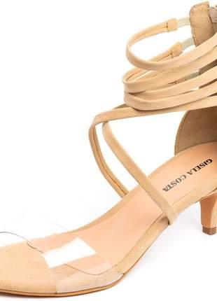Sandália social meia cana tira transparente nude salto baixo fino