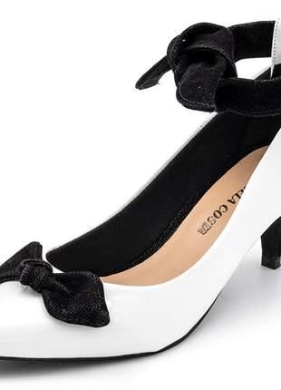 Sapato scarpin feminino laço salto baixo amarrar na perna