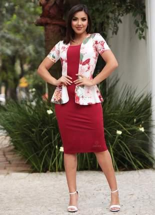 Vestido casaquinho manga curta moda executiva social feminino