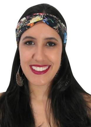 Turbante feminino estampa floral preto