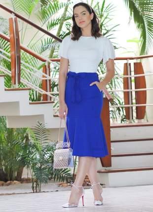 Conjunto importado luxo azul saia laço + blusa branca