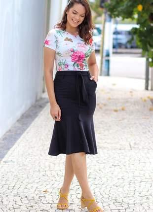 Conjunto floral estampa digital blusa + saia casual
