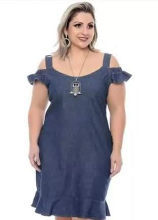 Vestido feminino em jeans com lycra  alcinha ciganinha plus size