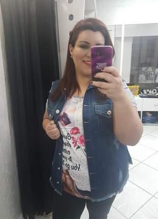 Colete jeans plus size