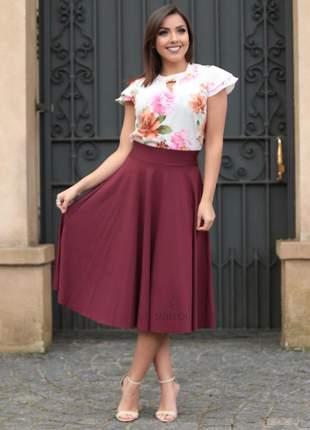 Conjunto saia longuete púrpura + blusa estampada flores