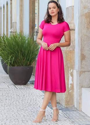Vestido godê rodado rosa pink tendência moda 2019