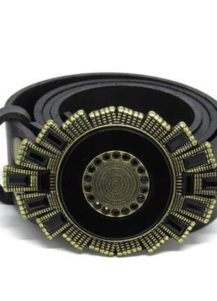 Cinto de couro legitimo geométrico preto