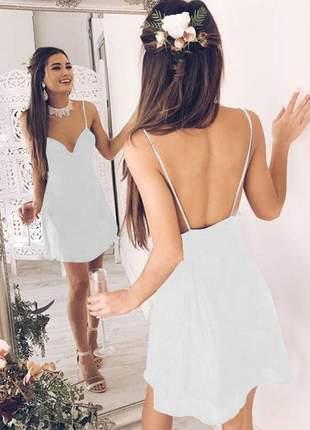 Vestido curto com costas nuas moda festa
