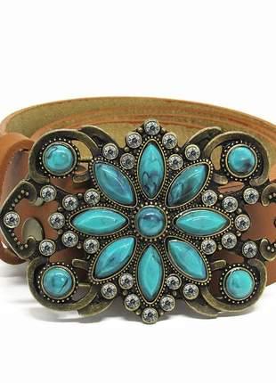 Cinto de couro legitimo flor turquesa caramelo
