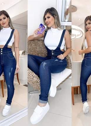 Jardineira calça suspensório skinny jeans