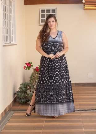 7828- vestido longo plus size malha