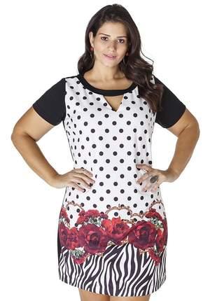 7729- vestido plus size manga curta estampa floral e poá