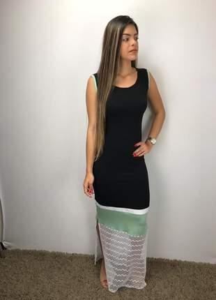 Vestido longo color block em moletinho viscose/elastano verão 2019