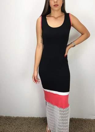 Vestido longo color block em moletinho com viscose e arrastão verão 2020
