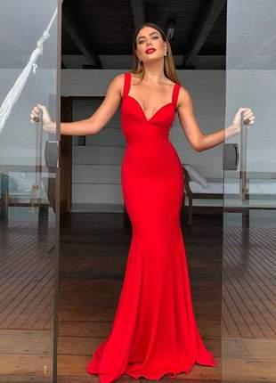 Vestido longo calda de sereia moda festa