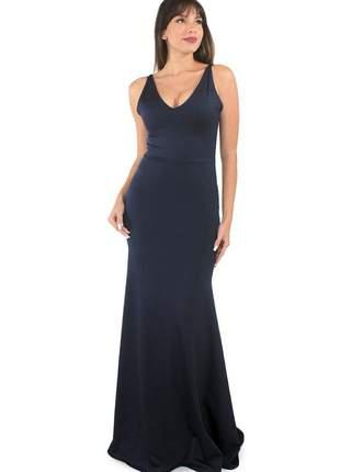 Vestido longo festa feminino decote em v moda blogueira