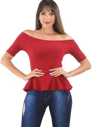 Blusa feminina peplum ombro a ombro canelada moda 2020