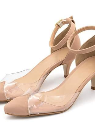 Sapato scapin aberto nude com detalhe transparente salto baixo fino