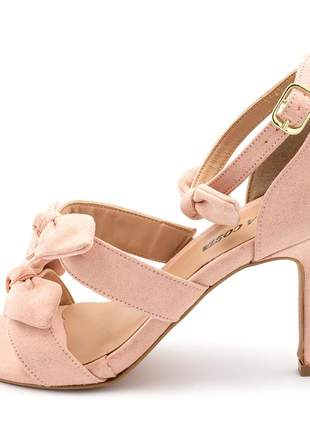 Sandália social feminina salto alto fino rosa bebe 3 laços
