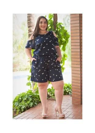 7812- conjunto plus size short e blusa em viscose
