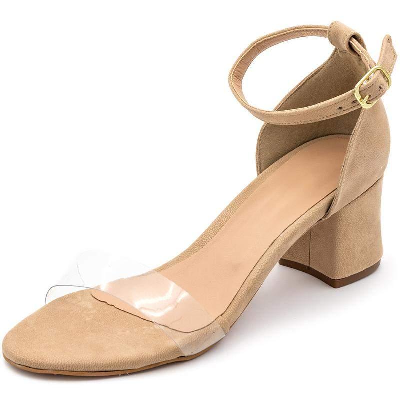 Sandália sapato social salto grosso nude com salto