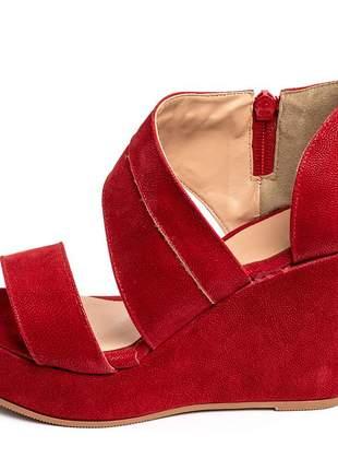 Sandália anabela meia lua salto alto 10 cm em nobucado vermelho
