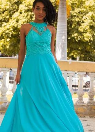 Vestido festa azul tiffany longo madrinhas formandas bodas aniver batizado