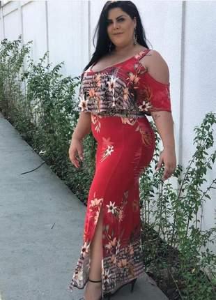 Vestido longo ciganinha com fenda lateral plus size