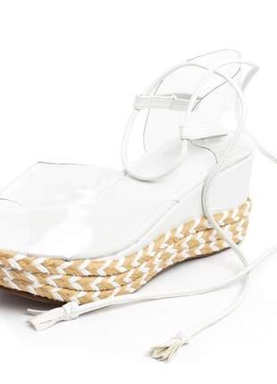 Sandalia anabela salto medio branca transparente amarrar na perna