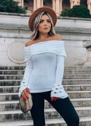 Blusa feminina tricô manga longa flare branca inverno promoção