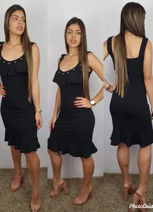 Vestido em moletinho viscose/elastano com apliques e babado, tendencia verão 2020