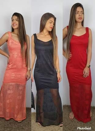 Vestido longo fendado em arrastão com forro na cor tendencia verão 2020
