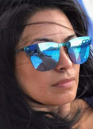 Óculos das blogueiras espelhado azul tendência nova promoção