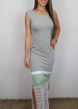 Vestido longo color block moletinho viscose / elastano 2019