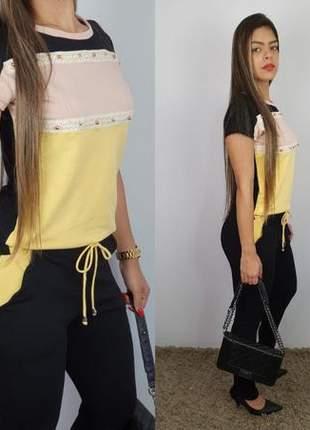 Conjunto calça e blusa em moletinho viscose / elastano color lindo ten verão 2020